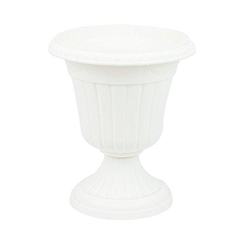 Pflanzpokal dekorative Amphore Pflanzgefäß Schale Vase weiss H 36 cm Blumentopf Milano