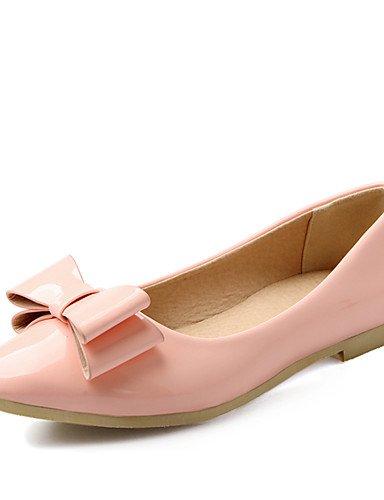 XAH@ Chaussures Femme-Habillé / Décontracté-Vert / Rose / Beige-Talon Plat-Confort / Bout Pointu-Plates-Cuir Verni pink-us6.5-7 / eu37 / uk4.5-5 / cn37