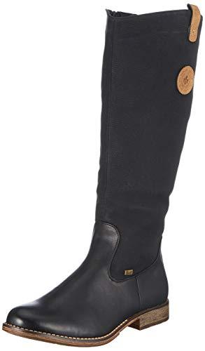 Rieker Damen 97752 Hohe Stiefel, Schwarz (Schwarz/Kastanie 00), 42 EU