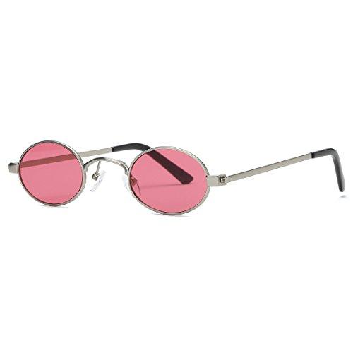kimorn Sonnenbrille Kleine Runde Metallrahmen Oval Bonbonfarben Unisex Gläser K0577 (Silber&Rot)