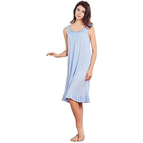 Jinyufeng Casual Donne Senza Maniche Blu Morbido Camicia DK1996 (Small)