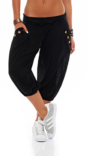 Malito Damen Pumphose in Unifarben | lässige Kurze Hose | Bermuda für den Strand | Haremshose - Pants 3416 (schwarz) -