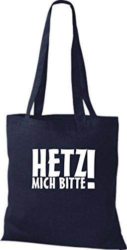 ShirtInStyle Stoffbeutel Hetz Mich Bitte!! Fun Beutel Baumwolltasche Beutel, diverse Farbe French Navy