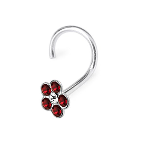 Cristaux de fleur coloré Pierre 22Gauge (0,6 MM) vis de nez en argent Sterling 925 Red