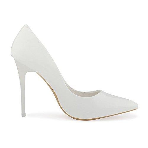 best-boots Damen Pumps Stieletto High Heels in Lack Weiß Lack
