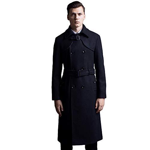 MERRYHE Herrenmode Zweireiher Mäntel Woolen Trenchcoat Slim Fit Militär Classic Trenchcoats Lange Jacke,Black-2XL(Bust/116cm)