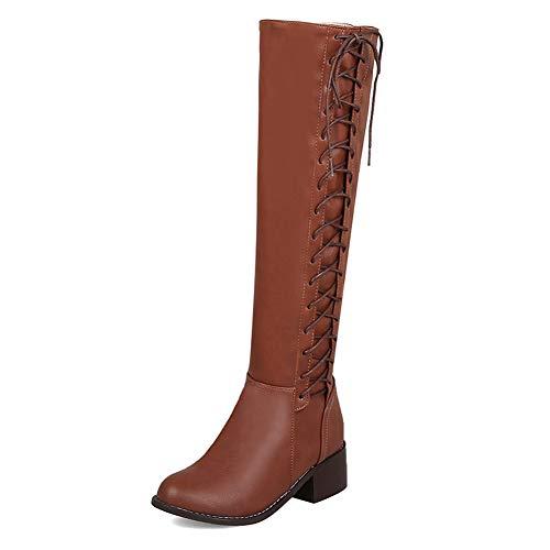 ORANDESIGNE Damen Klassische Stiefel Weiche Flache Schuhe Lederstiefel Winter Casual Herbst Winter Lederstiefel Reitstiefel Braun 34 EU