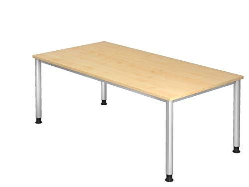 Schreibtisch DR-Büro 200 x 100 cm - Bürotisch höheneinstellbar, Gestell Silber, inkl Kabelwanne - 7 Farben zur Auswahl, Farbe Büromöbel:Ahorn