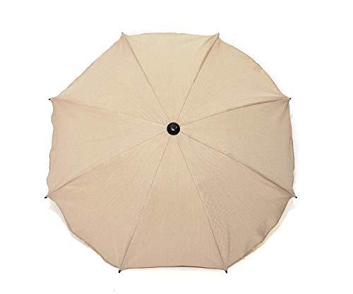 Universal Sonnenschirm Regenschirm für Kinderwagen und Sport Buggy, Babywagen Schirm mit Universal Halterung, UV-Schutz50+ Sonnensegel Sonnenschutz (Beige Leinen)