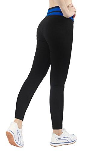 iLoveSIA leggings mädchen Blau&Schwarz Joggings hose Legging lange damen Tights Capri YOGA Gym,Größe S