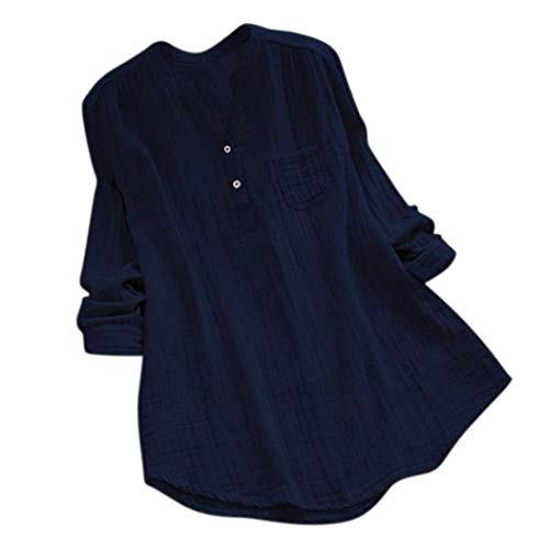 UFACE Damen Stehkragen Langarm beiläufige lose Tunika Tops T-Shirt Bluse Langarm V-Ausschnitt lose Top(Marine,EU/44CN/M)