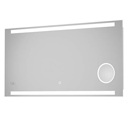 LED-Spiegel Talos King–Warmweiß beleuchteter Spiegel für Badezimmer-120x60cm Wandspiegel–Glas-Beleuchtung für angenehmes Licht im Bad–Modernes Design, hochwertige Beschichtung-LED Uhr-Kosmetikspiegel