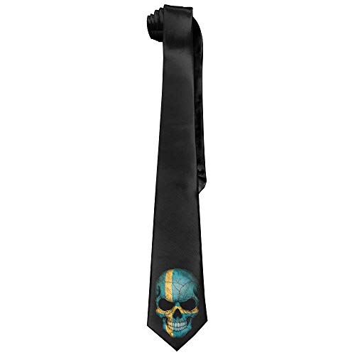 Men's Swedish Flag Skull Vintage Ties Neck Tie Skinny Ties