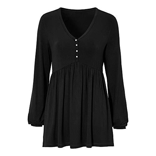 Milktea Blusen Damen Tops T-Shirt Casual Solide Reihe Falten V-Ausschnitt Lange Laterne Ärmel Rüschen Top T-Shirt Bluse