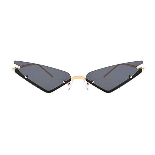 Unbekannt Uv400 Cat Eye Sonnenbrille Spitzen Dreieck Sonnenbrille Multicolor Optional Kleine Randlose Dreieck Sonnenbrille Männer Frauen Mode Spiegelgläser,A