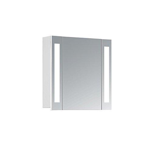 HAPA Design Spiegelschrank Venedig weiß mit LED Beleuchtung 12W 4000K, VDE Steckdose, Softclose Funktion und Verstellbaren Glas Ablagen. Komplett vormontiert.