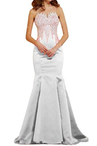 Victory Bridal 2015 Herllich Damen Wassermelon Pailletten Abendkleider  Ballkleider Lang Meerjungfrau Lang Weiß