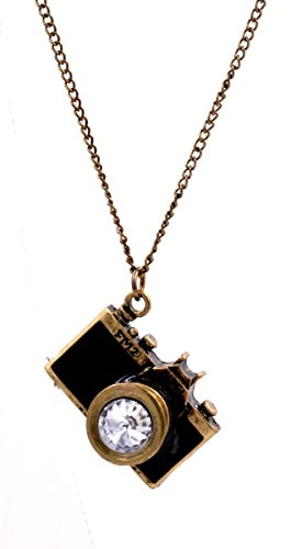 Halskette mit Anhänger, schwarze Emaille-Kamera / Fotoapparat, lange Kette, witzig, Farbton Antik-Bronze, in Organza-Tasche