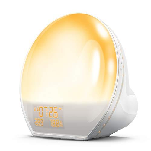 AngLink Wake Up Licht, Lichtwecker mit Sonnenaufgang Simulation, FM Radio & Snooze, USB Ausgangsschnittstelle, Hygrometer Thermometer, Tageslichtwecker LED mit 7 Farben