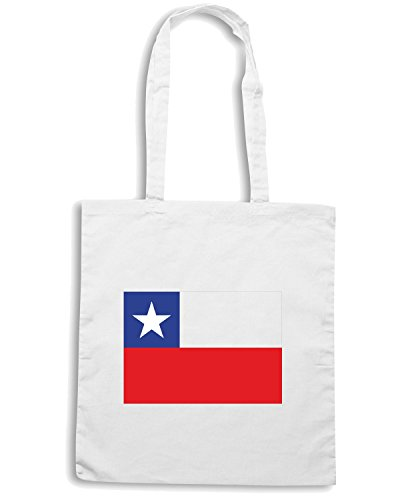 T-Shirtshock - Borsa Shopping TM0177 Chile Flag flag Bianco
