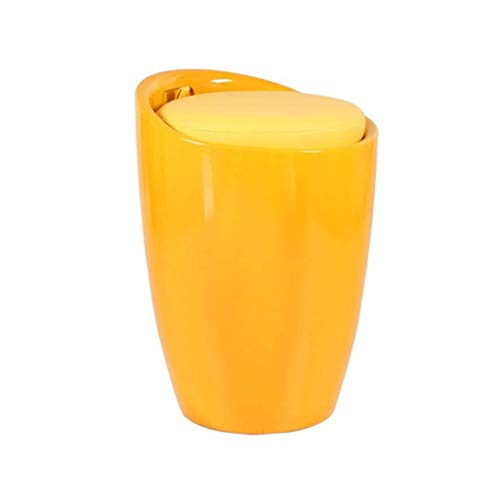 ABS Schuh Bank Kinder Spielzeug Aufbewahrungsbox Fußstütze Hocker PU Pad Einzelsitz for Wohnzimmer Und Schlafzimmer, 24x24x50 cm (Color : Yellow) -