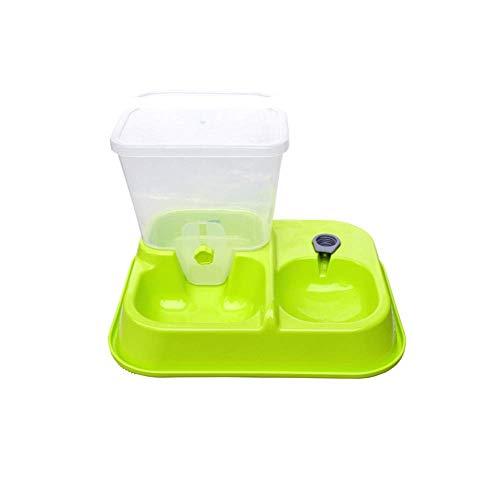 NIOHIHFF 2 In1 Pet Feeder, Futterspender Pet Feeder Wasserspender Set Schüssel Für Hunde Und Katzen, Haustiere, Tiere (Auto Pet Water Dispenser Und Futterspender),Green,20 * 24 * 24.5