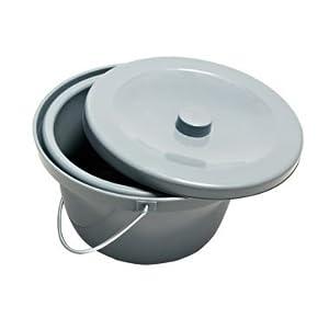 Eimer für Toilettenstuhl mit Deckel und Haltebügel