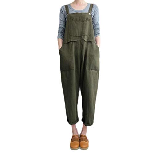 CuteRose Women Relaxed Jumpsuits Rompers Pockets Plus-Size Bib Overalls Army Green XXL Old Navy Floral Romper