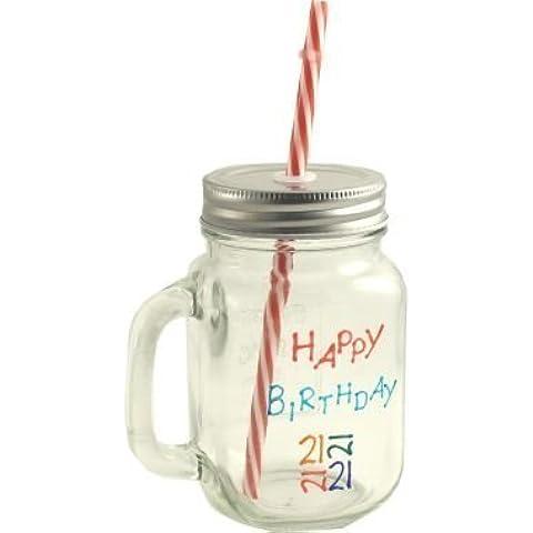 21st Birthday tarro de cristal con estilo Vintage tapa y paja