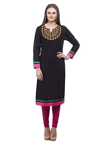 Kurti's Women /Girls Kurtis/Kurti for Girls/Casual Kurti/FormalKurti/Stylish Kurti/Kurta/In 3/4 Sleeve Cotton Embroidered kurtis Black Color