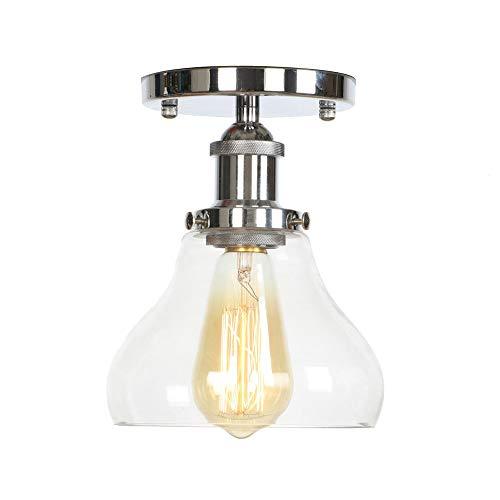 Moderne Retro Metallic Transparent Glas Decke Lampenschirm Dachgeschoss Cafe Küche Deckenleuchte (Keine Glühbirne) -