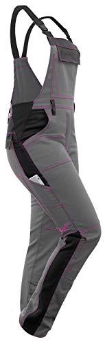 strongAnt® - Damen Arbeits-Latzhose Ripstop wasserabweisend Teflon Dupont Imprägnierung Pink für Frauen mit Kniepolstertaschen, Kombihose - atmungsaktiv Regenhose Grau-Schwarz 19