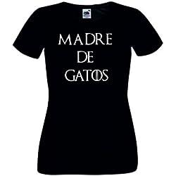 Child: Camisetas divertidas madre de gatos - para mujer camisetas talla Small color negro