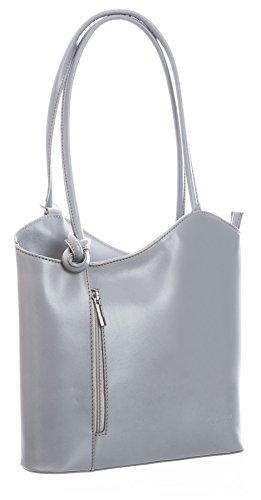 artige weiche italienische Leder Piping Detail Schulter oder Rucksack Tasche mit Schutztasche - Libby z** (Nicht Piping) - Graues Licht (Graue Tote Bag)