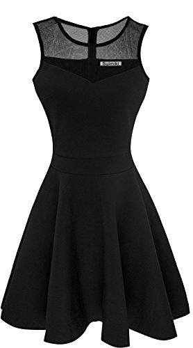 Suimiki Damen ärmellos Rundausschnitt falten A-linie Partykleid mini Cocktailkleid kurz Festliche Kleid-BLL (Kleid Besonderen Anlass Anlass)