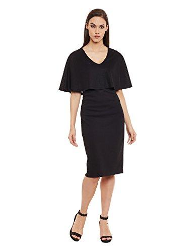 Femella Women's Black V Neck Midi Dress