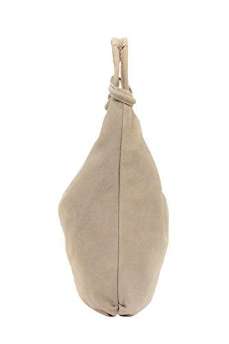 AMBRA Moda Damen Wildleder Schultertasch Damen Handtasche Hobo-Bags Shopper Beuteltaschen Veloursleder Suede Ledertasche DIN-A4 42cm x 35cmx 4cm WL803 Beige