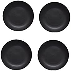 Quarter Plate 7 in in Royal Black (Set of 4) Handmade by Caffeine The Premium Stoneware