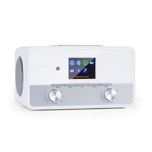 """auna Connect 150 SE Smart Radio 2.1-Internetradio mit DAB/DAB+, PLL-UKW-Radio, Mediaplayer, Bluetooth, HCC-Display: 2,8"""" TFT-Farb-Display, WiFi 2.4G, 5G, RDS, AUX, 28 W RMS, Alarm, Fernbedienung, weiß"""