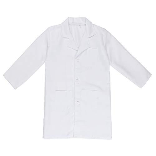 CHICTRY Jungen Mädchen Krankenhaus Arzt Scrubs Kostüm Kinder Rollenspiel Outfit Arztkittel Laborkittel Labormantel Weiß Weiß 122-128