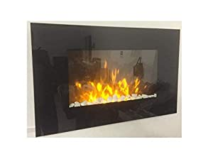 TruFlame 2019 LED Wall Mounted Flat Glass Electric Fire with Pebble and Log Effect and 7 colour side LEDs(90cm wide)