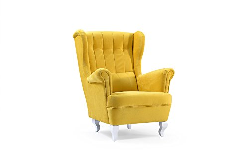 mb-moebel Ohrensessel Fernsehsessel Wohnzimmer-Sessel Relax-Sessel Loungesessel Armsessel Stanford Gelb (Gelbe Wohnzimmer Möbel)