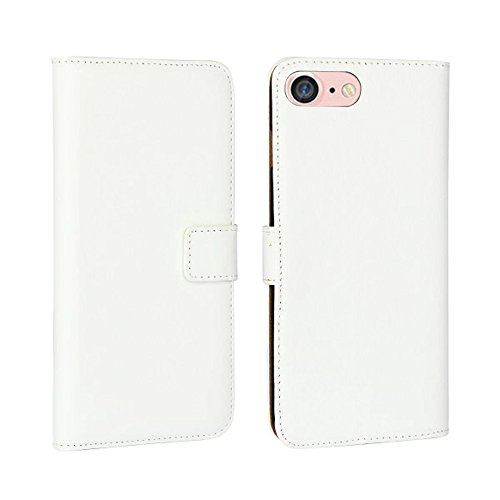 Fancy Cherry® Cover a libro di lusso, in vera pelle, con porta carte di credito, per Apple iPhone 4/4S, iPhone 5/5S, iPhone 6/6 Plus, iPhone 7/7 Plus, iPhone 5C, alta qualità White