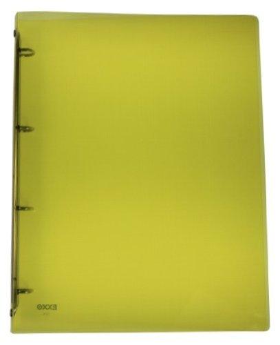 EXXO by HFP 22436 Ringbuch 4 Ringe Kunststoff für bis zu 40 blatt mit selbstklebendem Rückenschild, transparent limone