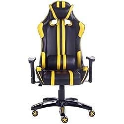 XUERUI Girella da 360 Gradi E-Sport Gioco Sedia Sedile Posteriore Seduta ergonomica Sedia reclinabile Sedile Girevole Sedia Linea Clause Durevole (Colore : Giallo)