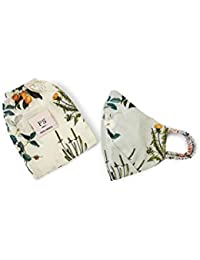 PS Pret by Payal Singhal Aqua and Ivory Titli Print Reversible 3 Ply Mask with Pouch