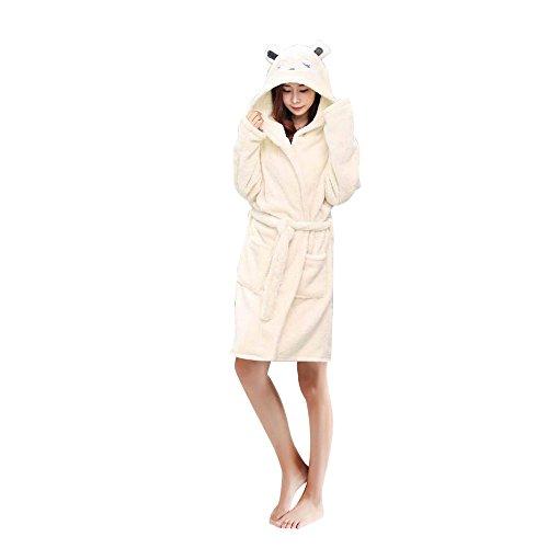 Woneart Damen Bademantel/Morgenmantel mit Kapuze Robe Nachtwäsche Tier Kostüme Pyjama Cosplay (Large for 164cm-172cm, - Frau Schaf Kostüm
