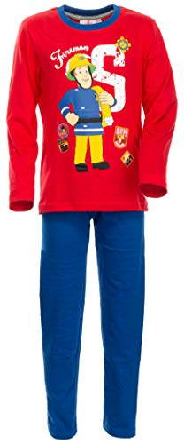 Brandsseller Jungen Schlafanzug Feuerwehrmann Sam Pyjama Freizeitanzug Set - Rot/Blau 122/128