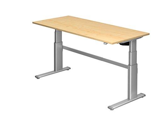 Ergobasis Schreibtisch elektrisch höhenverstellbar 63 bis 128 cm, Sitz-Steh-Tisch Version 2019 mit Arbeitsplatte 180 x 80 cm (Ahorn)