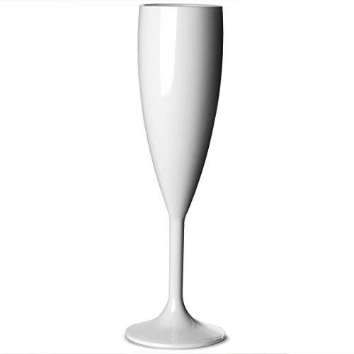Elite Premium-Flûte à Champagne-Polycarbonate-Blanc - 7 oz/200 ml réutilisables en plastique Verres à Champagne en plastique Polycarbonate incassable Idéale pour les fêtes en extérieur &de traiteurs